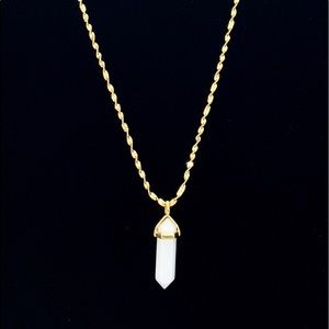 Jewelry - White Jade Chakra Healing Pendant on a Gold Chain